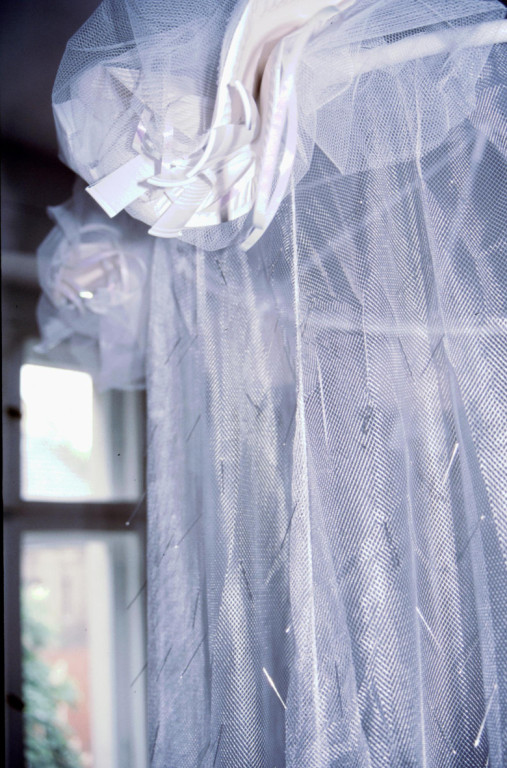 (2003, mixed media, pins, moquito net, leakage etc.)