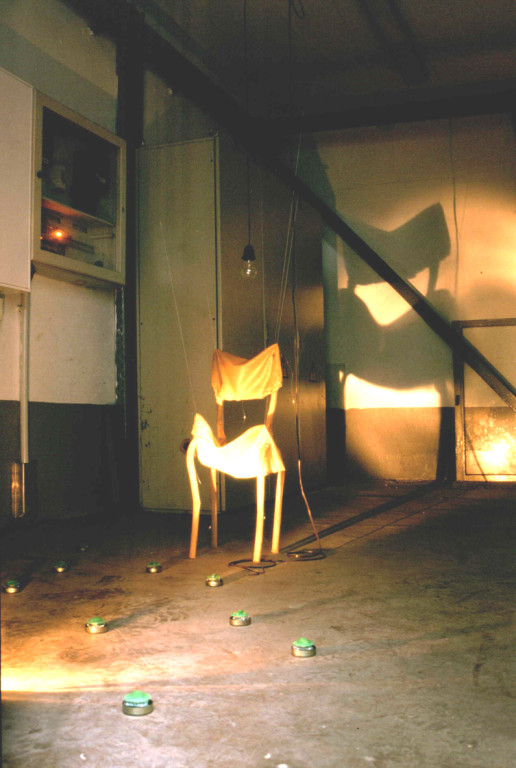 (2003, empty factory in Thuringia, mixed media, latex, egg timer, electric cable etc.)
