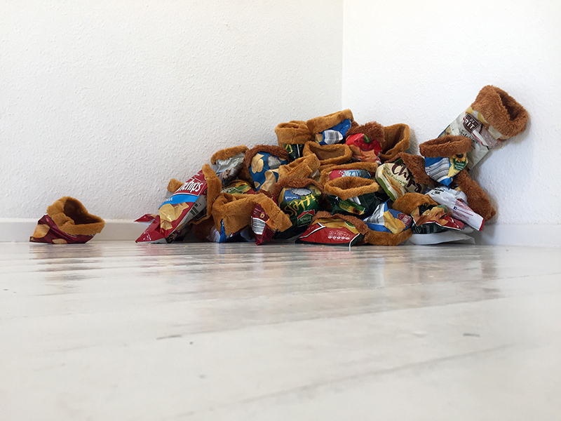 Locked In (installation, approx. 150cm x 25cm, mixed media, 2021)