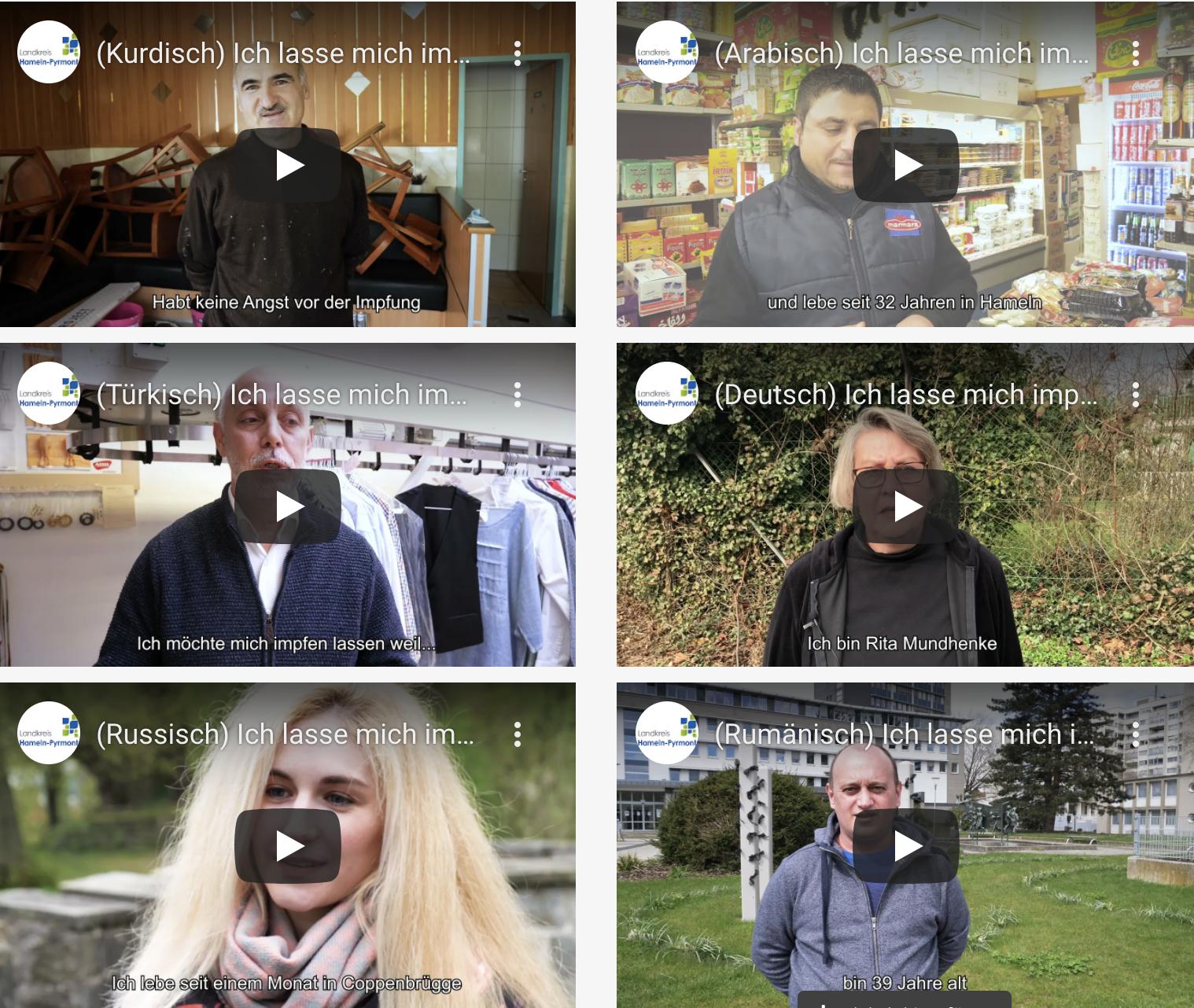 Neue Videos in verschiedenen Sprachen