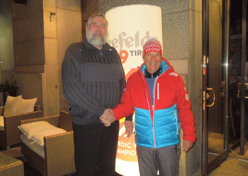 Die finnische Langlauf-Lengende Juha Mieto und ÖSV Präsident Peter Schröcksnadel