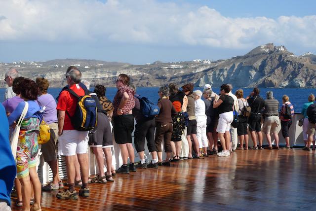 Aegean Sea prow crowd