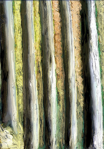 Bush Poles. 2003. Ink on paper. 42 x 29cm. © Charles Rocco
