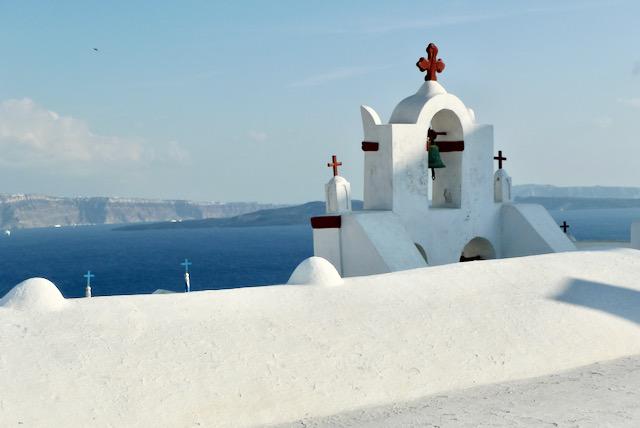 Bells and crosses of Santorini