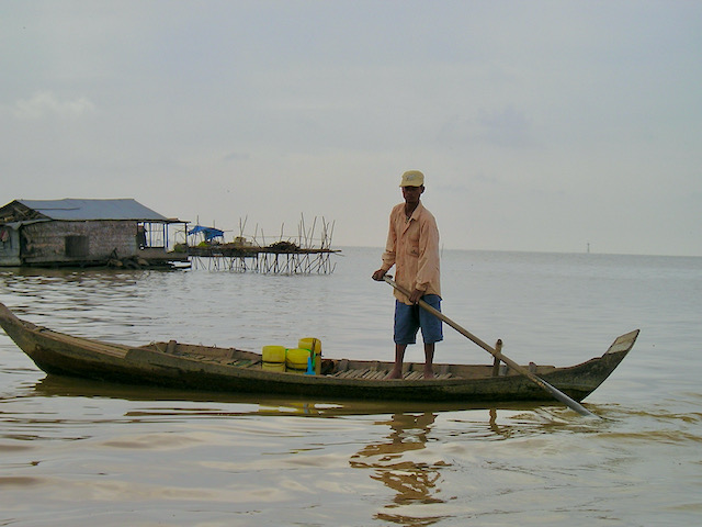 The lone punter, Siem Reap River, Siem Reap