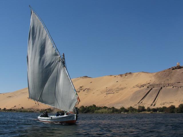 Full sale felucca on the Nile