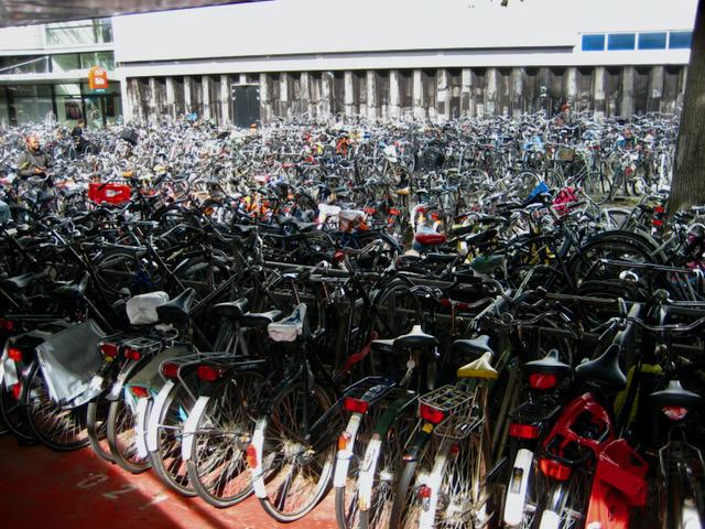 Amsterdam bikes at railway station