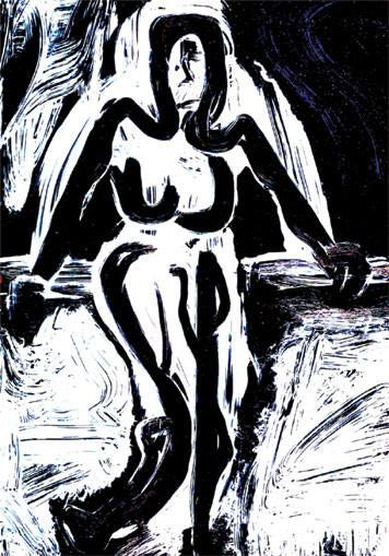 Boulder Woman. 2003. Ink on paper. 42 x 29cm. © Charles Rocco
