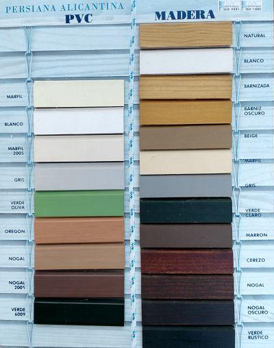 Colores de persianas alicantinas o de cadenilla en PERSIATEC (Murcia)