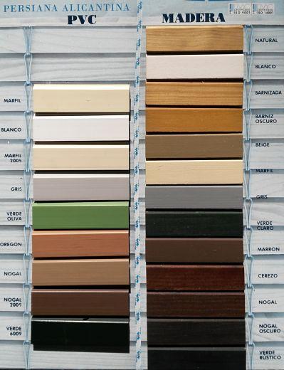 Colores de persianas de cadenilla o alicantinas en PERSIATEC (Murcia)