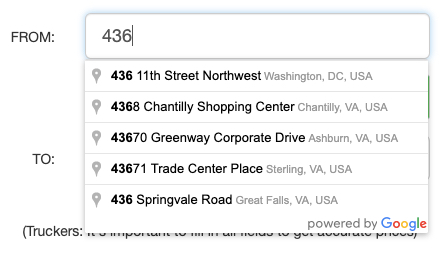 Tollsmart Truck Tolls Calculator uses Google Maps autocomplete