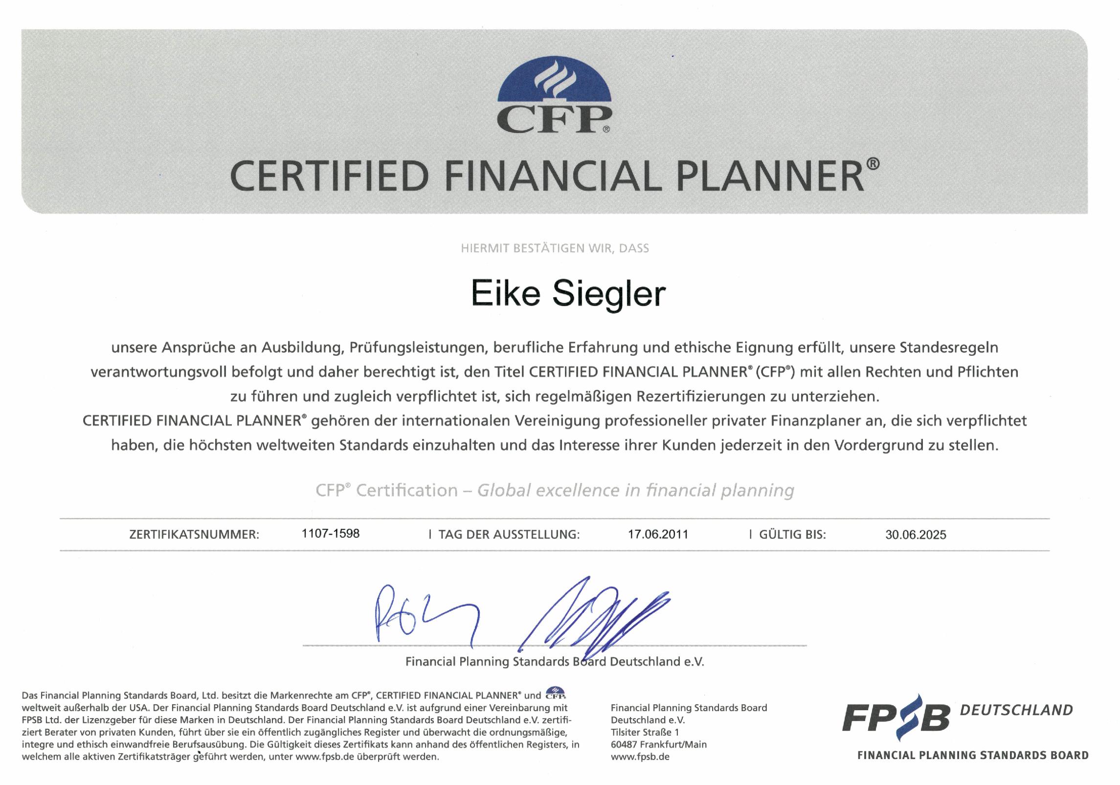 Abbildung des Zertifikats CFP-Certified Financial Planner, verliehen an Eike Siegler