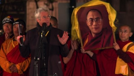 Richard Gere at protest rally in San Francisco - Filming for When the Dragon Swallowed the Sun