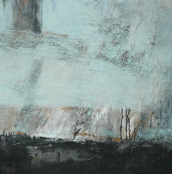 Zeche Zollern II, Collage, Marmormehl, Pigmente auf LW, 90 x 90 cm