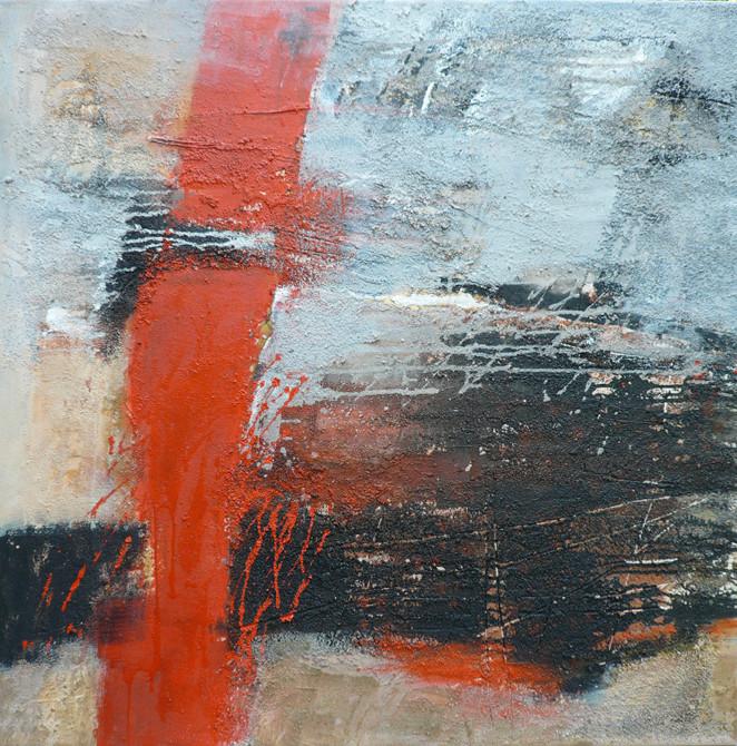Kraftfeld II, Collage, Sande, Acrylmischtechnik auf LW, 90 x 90 cm