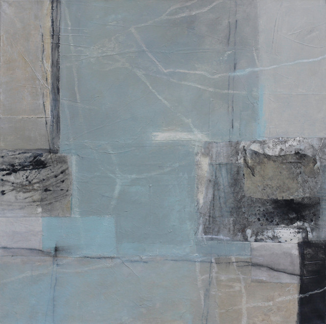 Spurensicherung III, Collage/Acrylmischtechnik auf Leinwand, 80 x 80 cm