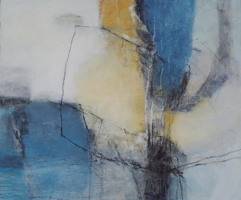 Spurensicherung, Collage/Acryl auf Leinwand, 100 x 120 cm