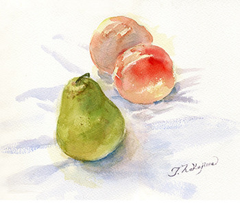 水彩画                               桃と梨