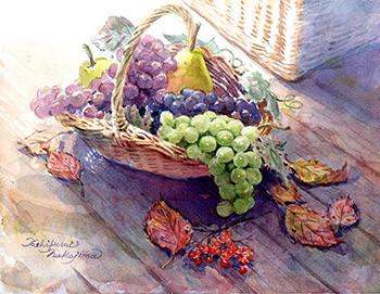 水彩画                             あふれる秋の実