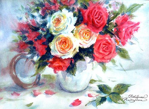 水彩画                            歓びのバラ