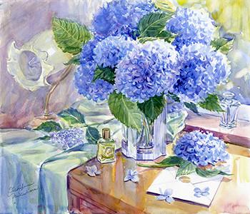 水彩画                          陽ふり注ぐ窓辺  紫陽花