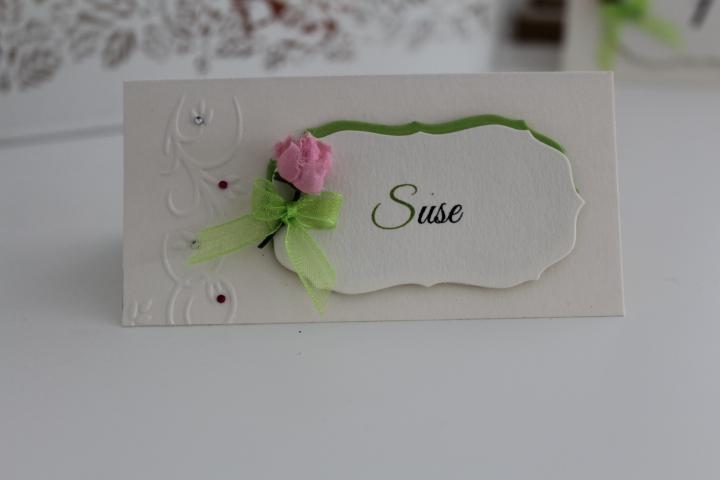TK 51 Tischkarte 5x10 cm. mit Blüte