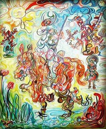 Don Quijote y Sancho en los molinos de viento /Óleo sobre lienzo / 120 x 100 cm / 2008