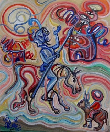 Don Quijote y Sancho en los molinos de viento / Óleo sobre lienzo/ 60 x 50 cm /2018