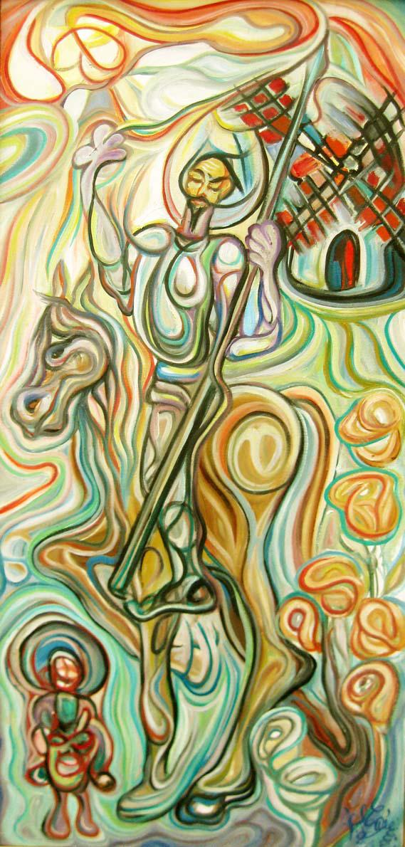 Don Quijote y Sancho en los molinos de viento/Óleo sobre lienzo / 65 x 120 cm / 2011