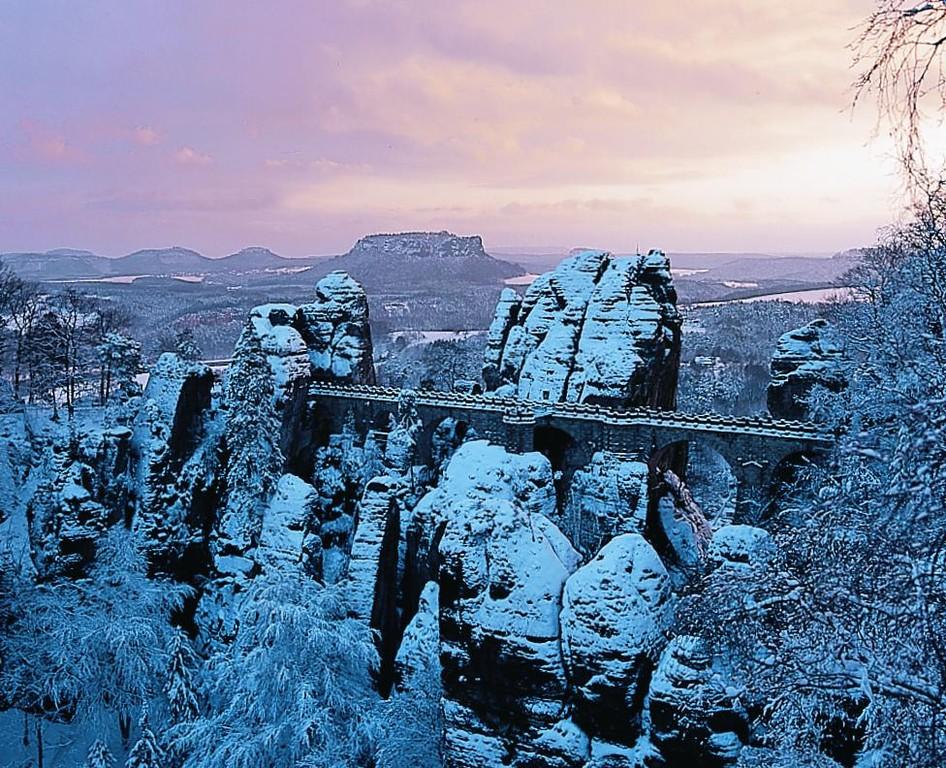 Basteibrücke im Winter