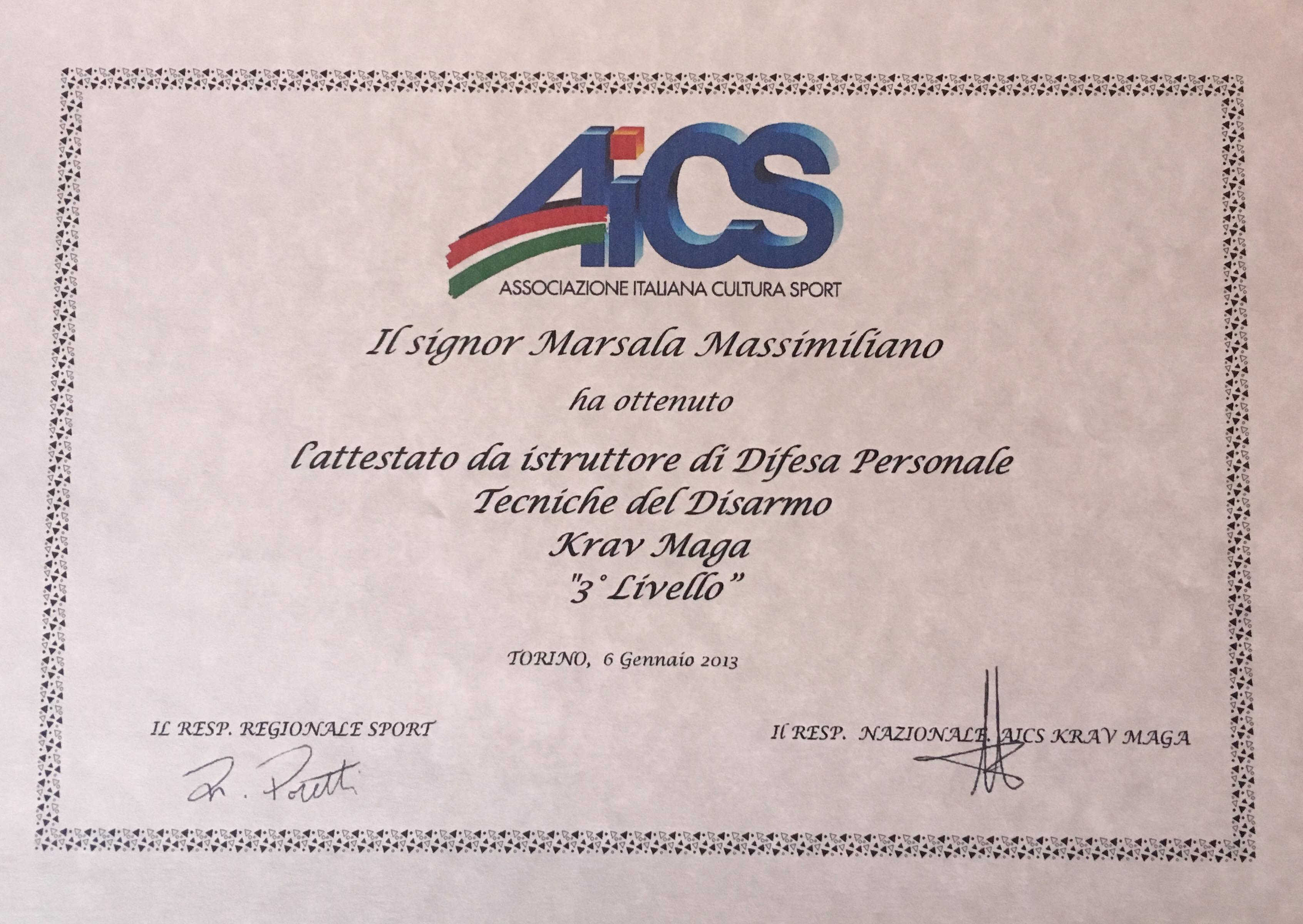 Istruttore AICS 3 livello Massimiliano Marsala