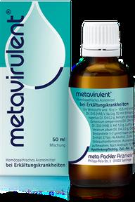 Abbildung metavirulent, Flasche und Schachtel
