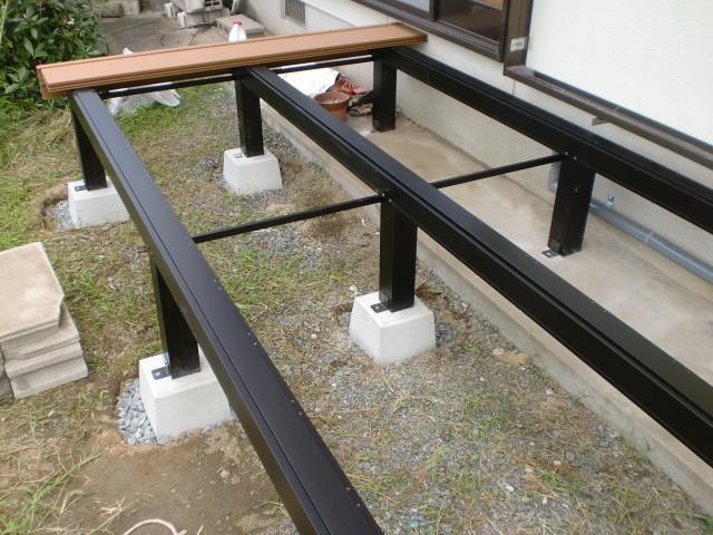 施工中 骨組み 大引・土台・束石固定