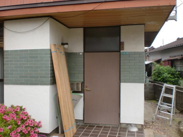 施工前 玄関ドア 木製