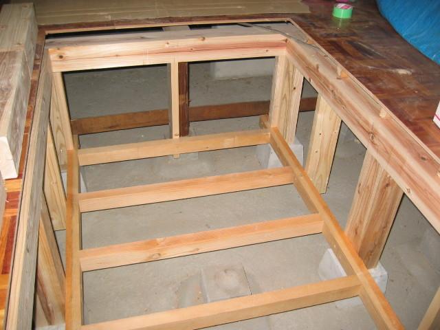 施工中 掘りごたつ部開口 床・壁下地組