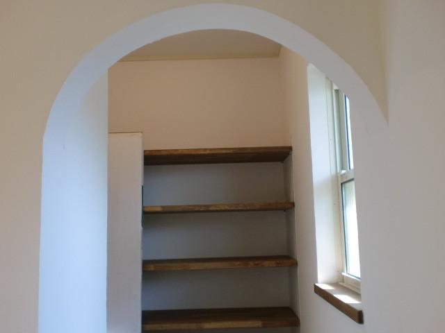 アール型 しっくい塗り壁 玄関収納