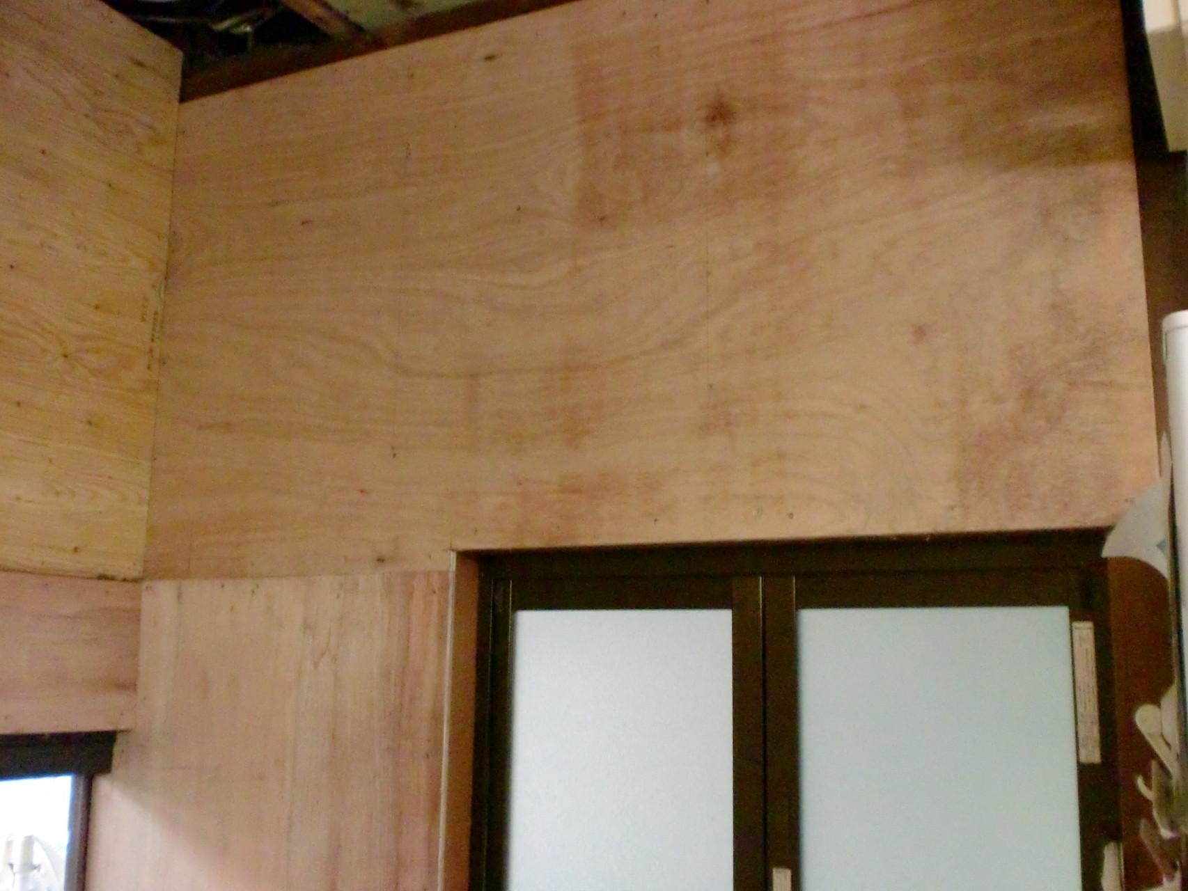 施工中 タイル貼り撤去 下地合板貼り