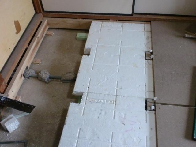 施工中 断熱材再利用
