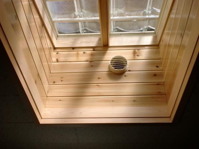 施工後 灯り取り室内天井 壁杉羽目板