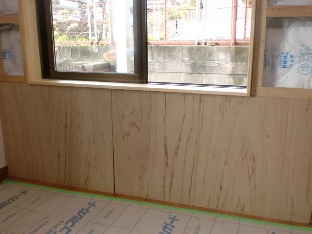 施工中 洋室中連内装周囲 壁下地貼り