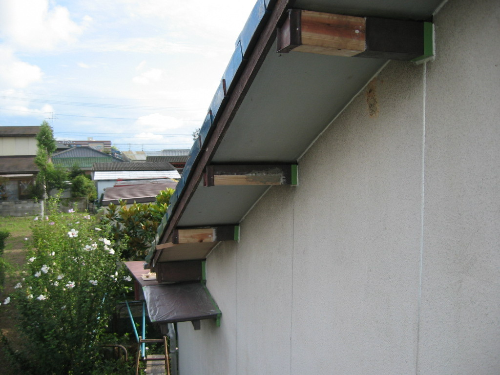 施工中 木部母屋部 腐れのため補強改善