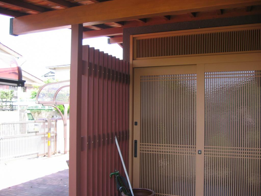 施工後 玄関サッシ取替・ キシラデコール塗装