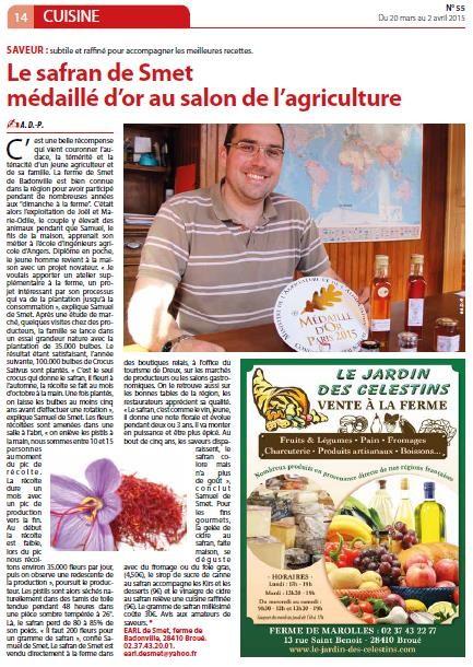 safran de smet - MtaVille Dreux - Médaille d'or salon de l'agriculture