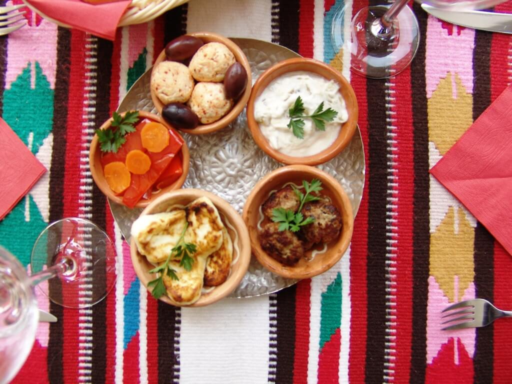 Our selection of meze as a starter for two or as a main dish for one, all week