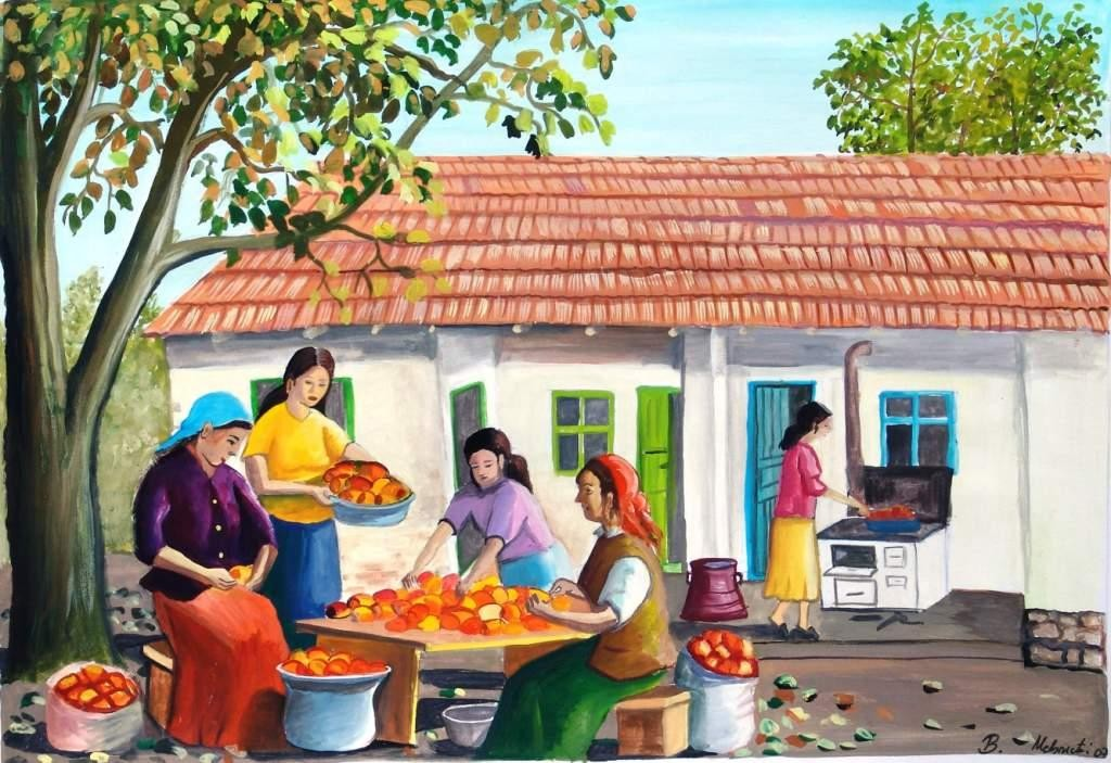 Painting by Bajram Mehmeti of the ajvar making (google him for more!)