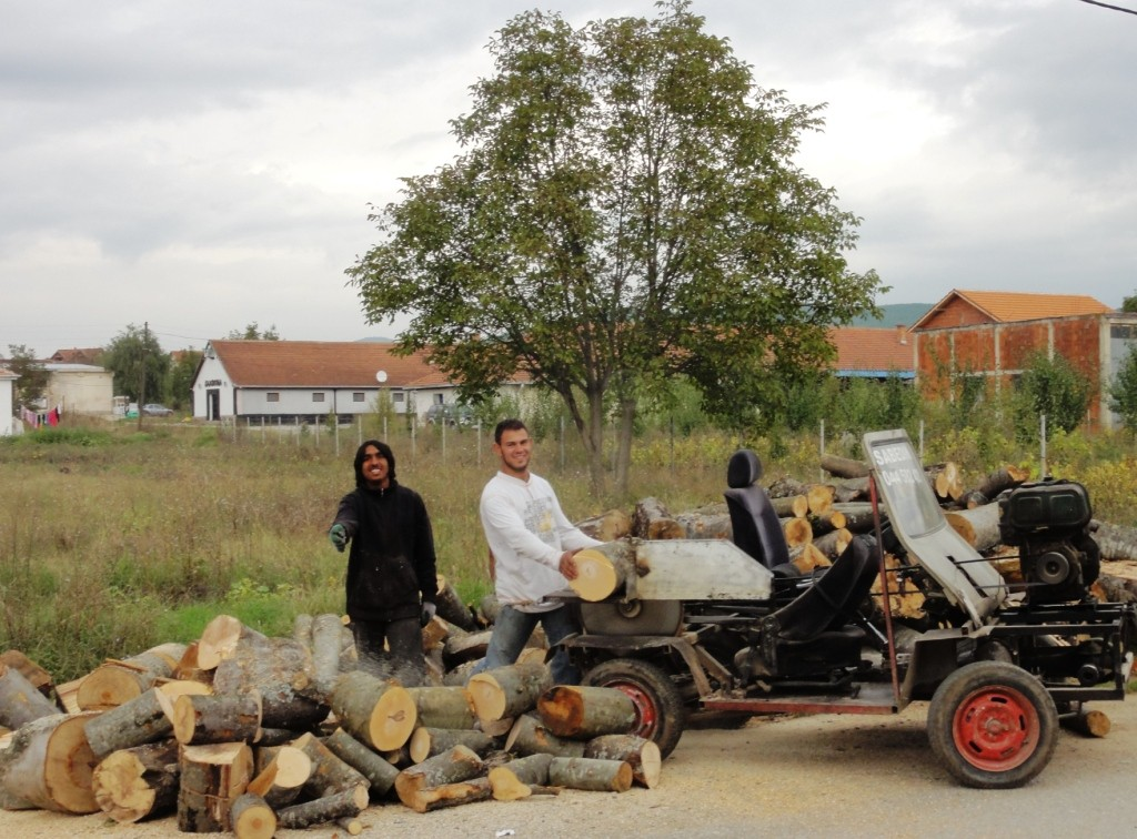 "Cutting wood for our fireplace with a ""Lamborghini"", a mobile saw cart built in Kosovo"