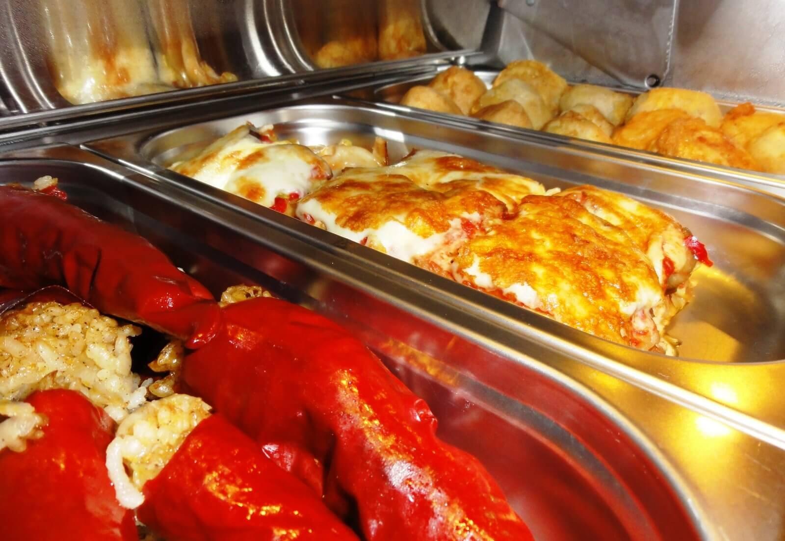 Vegetarian dishes at Sunday brunch