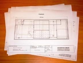 Bild: Konstruktionszeichnungen, Entwürfe von Aquarien, Aquarienanlagen