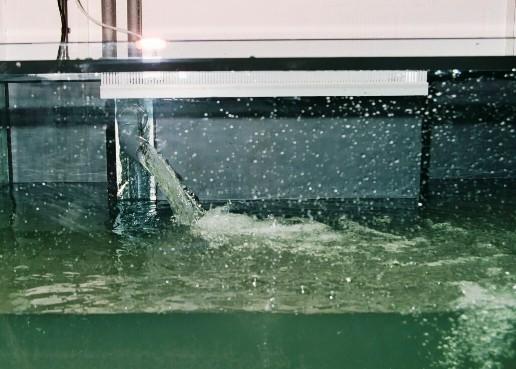 Gedrosselter Probelauf einer Pumpe veranschaulicht die hohe Leistung (zus. ca. 20.000l/Std.). Die Öffnung der Druckseite misst 40mm.