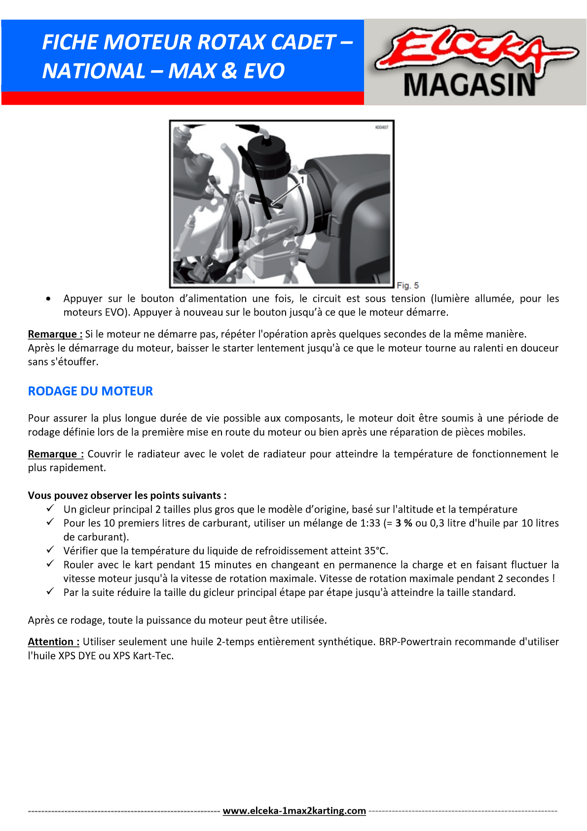 FICHE MOTEUR ROTAX PAGE 3 SUR 5
